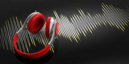 3d rendering headphones and music wave on black background Stock Photo