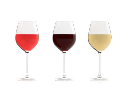 3d rendering crystal glasses of wine on white background