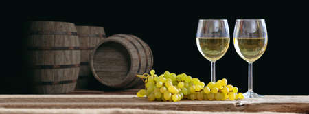 wine background: 3d rendering glasses of white wine on dark background