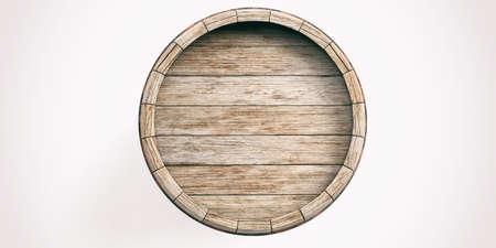 白い背景の 3 d レンダリングの古い木製樽