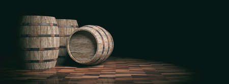 wine background: 3d rendering old wooden barrels on dark background