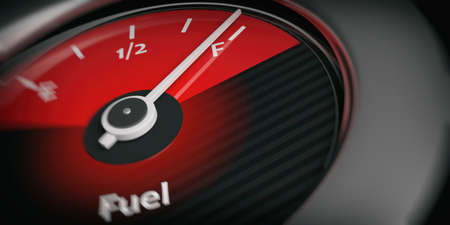 petrol pump: 3d rendering car indicator fuel full close up