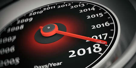3d rendering new year 2018 car speedometer close up