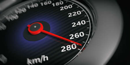 3d rendering black - chrome car speedometer close up
