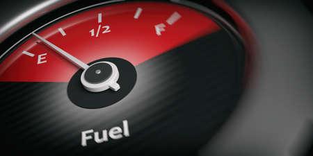 3d rendering car indicator fuel empty close up