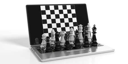 3d rendering chess on laptop screen on white background Banco de Imagens