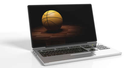 3d rendering basketball on a laptop screen on white background