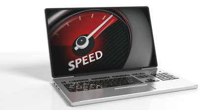 indicate: 3d rendering speed gauge on a laptop on white background Stock Photo