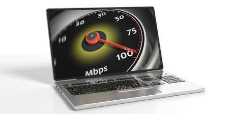high speed internet: 3d rendering internet speed concept on white background