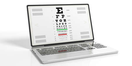 eye exams: 3d rendering eyesight test on a laptops screen