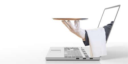 3d rendering waiter offering a tray through a laptop screen Stock fotó