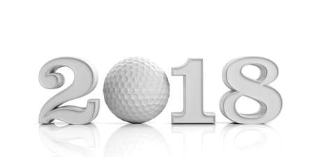 3d rendering new year 2018 with golf ball on white background