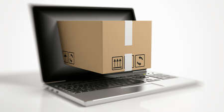 Moving box out of a laptop on white background. 3d illustration