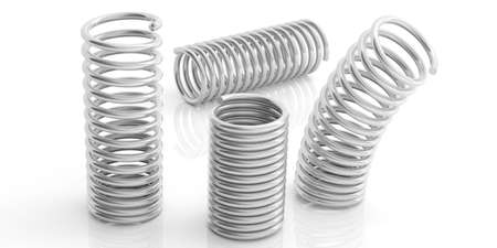 coil springs: Metal silver springs isolated on white background. 3d illustration