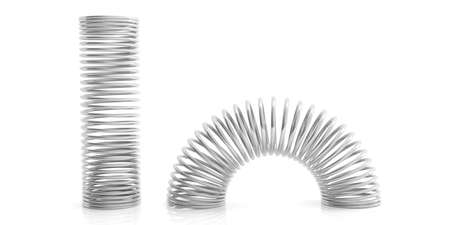 Metal silver springs isolated on white background. 3d illustration