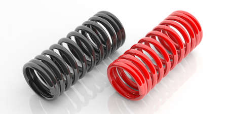 coil springs: Metal springs isolated on white background. 3d illustration Stock Photo