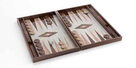 Wooden backgammon board on white background. 3d illustration