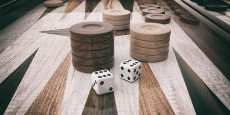 Holz-Backgammon-Brett Nahaufnahme. 3D-Darstellung Standard-Bild