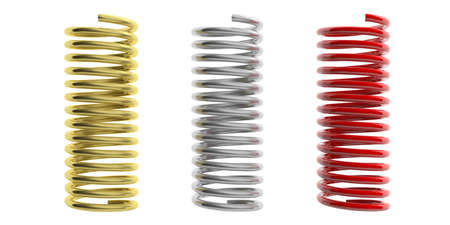 springs: Metal springs isolated on white background. 3d illustration Stock Photo