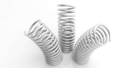 springs: Metal silver springs isolated on white background. 3d illustration