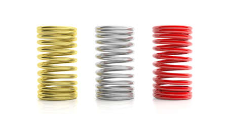 coil car: Metal springs isolated on white background. 3d illustration Stock Photo