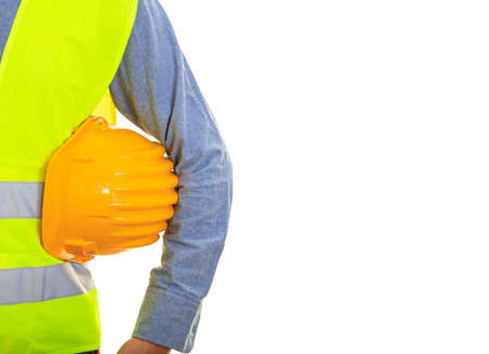 reflective: Man with safety equipment on white background
