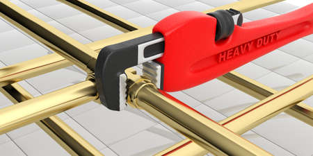 Red monkey wrench and pipes isolated on white background. 3d illustration