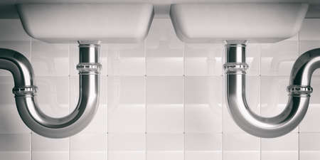 sink drain: Water pipes under double kitchen sink. 3d illustartion Stock Photo
