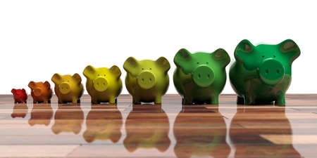 Piggy banks on wooden floor - energy efficiency concept. 3d illustration
