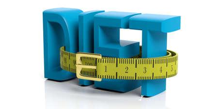 Yellow measure tape - belt on white background. 3d illustration