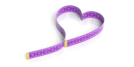 millimeter: Heart shaped measure tape on white background. 3d illustration
