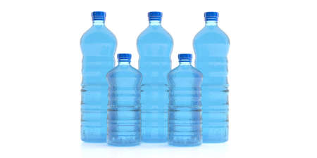 small group of objects: Bottles of mineral water on white background. 3d illustration