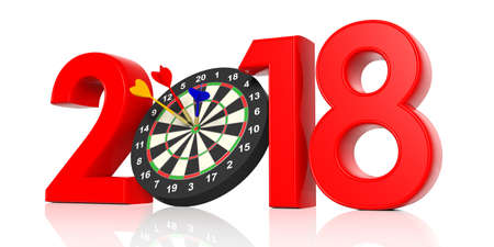 New year 2018 with darts board. 3d illustration Stock Photo