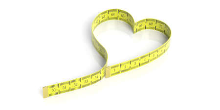 overweight: Heart shaped measure tape on white background. 3d illustration