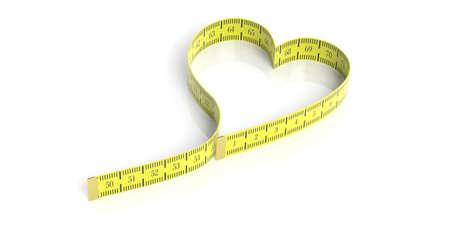 Heart shaped measure tape on white background. 3d illustration