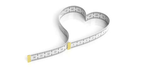 Heart shaped measure tape on white background. 3d illustration