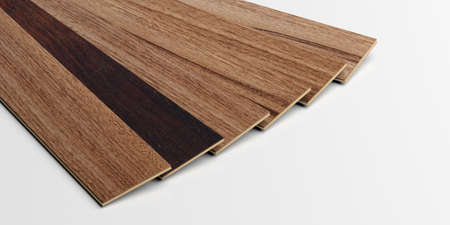 plank: Laminate floor planks on white background. 3d illustration