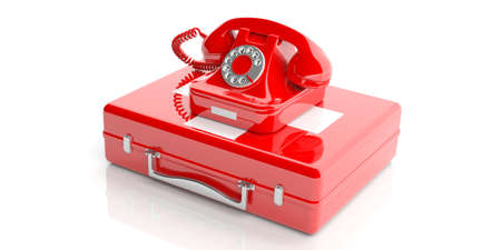 Red old telephone isolated on a first aid kit on white background. 3d illustration