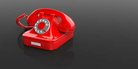 phone cord: Red old telephone isolated on black background. 3d illustration Stock Photo