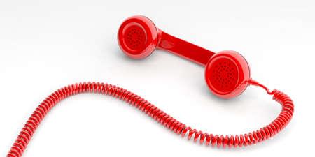 cable telefono: Receptor de teléfono viejo rojo aislado sobre fondo blanco. Ilustración 3d Foto de archivo