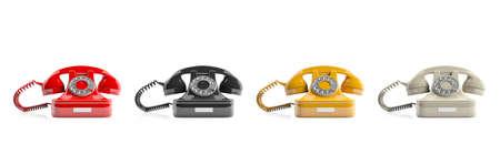 Old telephones isolated on white background. 3d illustration Stock Photo