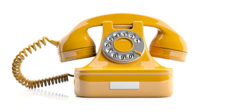 receiver: Yellow old telephone isolated on white background. 3d illustration