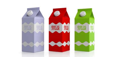 envase de leche: Milk carton boxes on white background. 3d illustration Foto de archivo