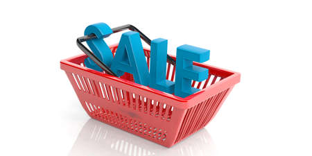 Sale concept in a shopping basket on white background. 3d illustration