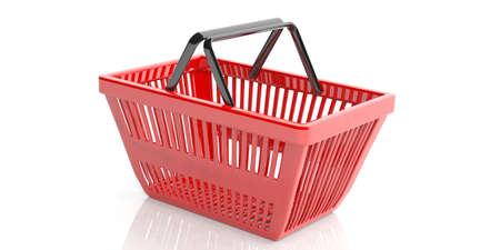 Red Warenkorb auf weißen Hintergrund. 3D-Darstellung