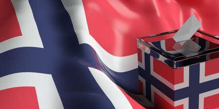 norway flag: Glass ballot box on Norway flag background, 3d illustration