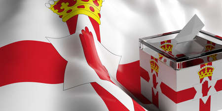 Glass ballot box on Northern Ireland flag background, 3d illustration