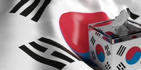 suggestion: Glass ballot box on South Korea flag background, 3d illustration