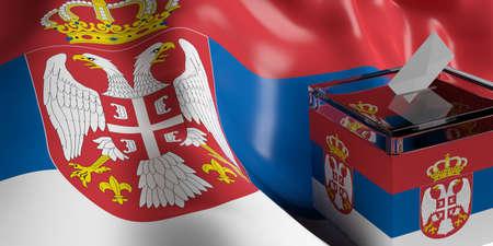 Glass ballot box on Serbia flag background, 3d illustration Stock Photo