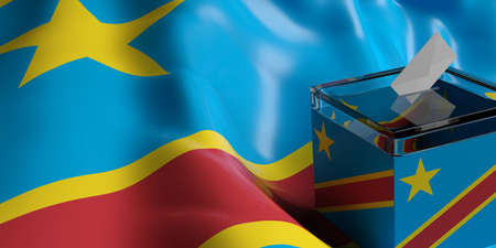 Glass ballot box on Congo flag background, 3d illustration